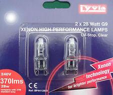 Xenon cápsula bombillas lámparas, 28w G9 Base, uv-stop transparente, 240v, Pack 2 Por Lyvia
