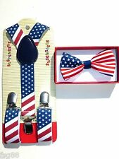 Baby Toddler Kids Child PATRIOTIC US AMERICAN FLAG USA Suspenders and Bow Tie