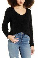 BP. Womens Sweater Black Size XS Eyelash Chenille Scoop-Neck Pullover $49 360
