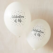10 White 'Celebration of Life' Funeral Remembrance Condolence Balloons