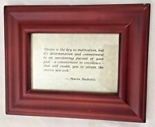"""MARIO ANDRETTI Wood 7X9"""" Sign: Desire is the Key ... Attain the Success You Seek"""
