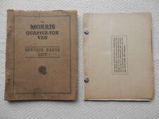MORRIS Quarter Ton Van early and SIII  (Minor van) Parts List approx 1953-56