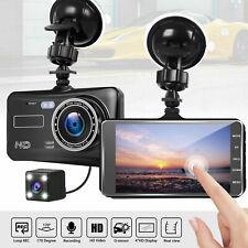 Dual Lens HD 1080P 4'' In Car DVR Dash Cam Video Recorder Camera Night Vision UK