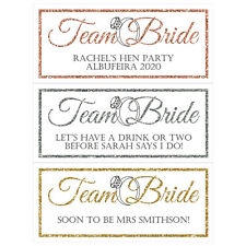 2 x PERSONALISED HEN PARTY BANNERS Team Bride Rose Gold / Gold / Silver Glitter