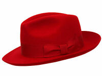 Ladies Red  100% Wool Hand Made Wider Brim Felt Fedora Trilby Hat With Band