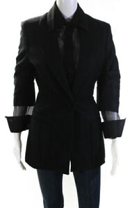 Zang Toi Womens Cashmere Silk Blend Long Jacket Black Size 2