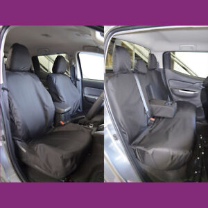 Mitsubishi L200 2015+ Waterproof Black Tailored Front and Rear Seat Covers