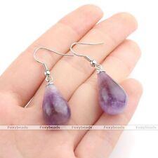 Pair Oval Waterdrop Amethyst Bead Dangle Hook Eardrop Earring Jewelry Gift EY