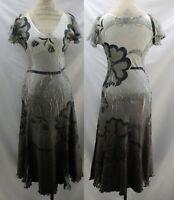 Komarov Bold Floral Crinkle Dress Size M Stretchy