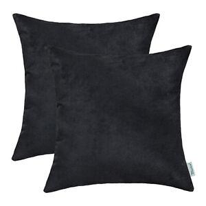2Pcs CaliTime Pillows Cases Cushion Covers Shells Heavy Faux Suede Black 45x45cm