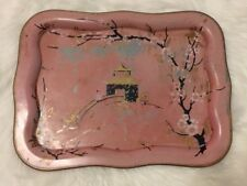 Vintage Pink Metal Tray Distressed Temple & Cherry Blossom Painted Details