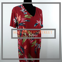 Christian Siriano Womens Size L Short Sleeve Red Floral Maxi Dress 8121