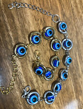 Gold And Silver Blue Eye Bracelets Set Of 2