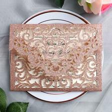 50pc pink gold glitter wedding invitation hollow quinceanera invites w envelope