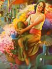 Festive Lady Flower Cart in Mexico by Gene Pressler