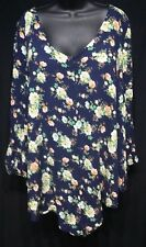 Womens SOPRANO Shirt Plus sz 2x Blue Floral Long Loose V neck blouse Top Hippie