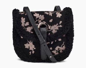 $175 NWT UGG Australia Heritage Mini Crossbody Suede Black Blossom Bag