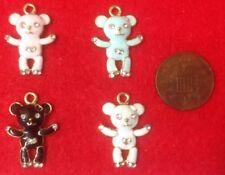 Set of 4 Gold White Black Pink & White Teddy Bear Enamel Rhinestone Charms (K2.2