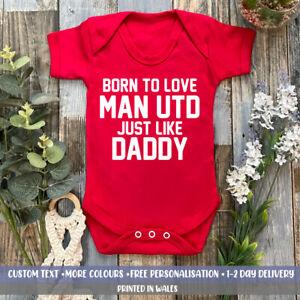 Born To Love Man Utd Like Daddy Baby VEST Manchester Football Boys Gift United