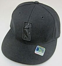 NBA Generic Black On Black Structured Flat Bill Fitted Hat By Reebok, Size 7 1/8