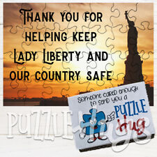 """Thank you for helping keep Lady Liberty safe"" Greeting Card Puzzle (Puzzle Hug)"