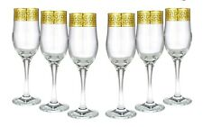 Gold Rimmed Champagne Flutes Greek Key Pattern - 9 oz. Lead Free Glasses 6-pc