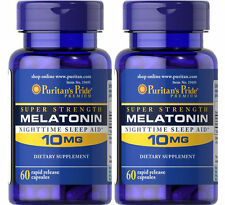 2 X Puritan's Pride Melatonin 10 mg Sleep Aid 60 Capsules Total 120 Made in USA