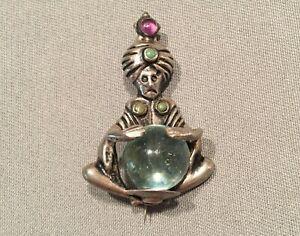Vtg Mid Century Mexico Pin Sterling Silver Brooch Fortune Teller Crystal Ball