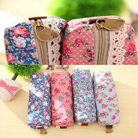Fashion Cute  Floral Lace Pencil Pen Case Cosmetic Makeup Bag Zipper Pouch