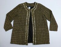 Ulla Popken Blazer Womens Size 16/18 Gold Black Embellished Lined Jacket EUC
