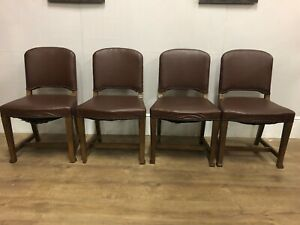 Set Of 4 Vintage Oak Studded Dining Chairs Solid Pieces #