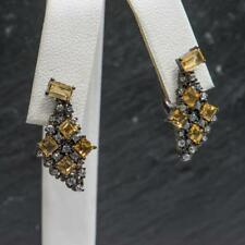 Genuine 2.38ctw Princess Cut Citrine and White Sapphire Sterling Silver Earrings