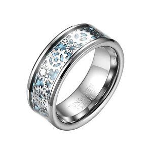 8MM Mens Steampunk Gear Wheel Blue Carbon Fiber Tungsten Wedding Band Size 6-15