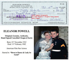 ELEANOR POWELL FILM STAR ACTRESS HAND SIGNED BANK CHEQUE - 1974  RARE ITEM