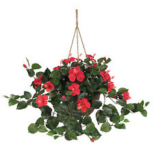 NEW HIBISCUS SILK HANGING BASKET FAUX ARTIFICIAL RED FLOWER NEARLY NATURAL PLANT