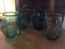 New listing Set of 4 San Miguel 100% Authentic Recycled Glass Stemless Wine Goblets 24 oz
