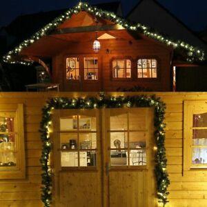 Tür-Girlande beleuchtet 5 m 80 LED Tannengirlande grün Weihnachten außen Timer