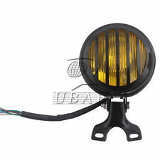 """5"""" Black Grill Mask Headlight Amber Lamp For Harley Touring Bobber Chopper Retro"""