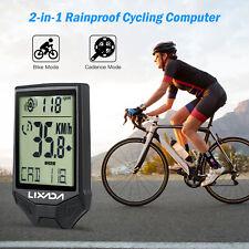 Wireless Bike Computer Waterproof Backlight LCD Bicycle Speedometer with Cadence
