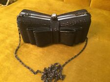 """Black Shimmery Bow Evening Clutch With 43"""" Chain New without Tags"""