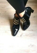 Vintage Pointed Black GoldChain Heels Ankle Boots Steampunk Shoes 6 39 US8