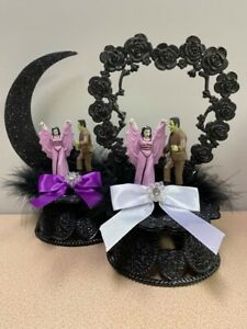 Halloween  THE MUNSTERS HERMAN & LILY Groom top Wedding Cake Topper Funny Scary