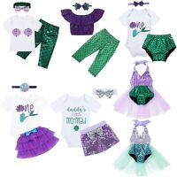 Toddler Baby Kids Girls Mermaid Tops Dress Shorts Outfits Birthday Clothes Set