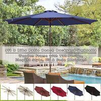 9ft Wooden Patio Umbrella 8 Ribs Garden Beach Pool Resort Tilt Parasol Sunshade