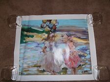 "Vintage L.E. Mixed Media Canvas Rita Asfour ""2 Girls at the Beach"" with C.O.A."