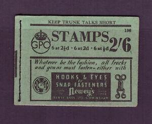BD17 George VI 2/6 Skeleton booklet. Edition 196. 11 stamps remaining.