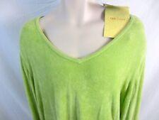 Susan Graver Women V-Neck Shirt Green Textured Sz 2X Stretch Long Sleeve B19 NWT