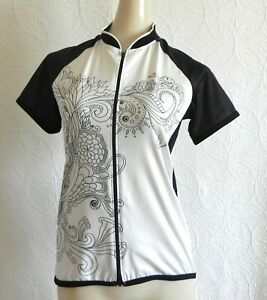 Canari Cycling Jersey Black/White Full Zip Short Sleeve Mesh Sides Pocket Size S