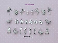 24 Antique Silver Colour Mixed Pack Baby Shower Charms Pram Stork