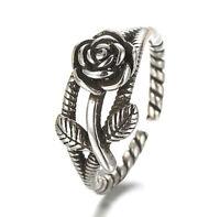 925 Sterlingsilber Ring Damen Ringe Rose Rosen Blume Blüte Verstellbar Silber